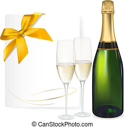 Two glasses of champagne and bottle. Vector illustration