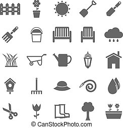 Gardening icons on white background, stock vector