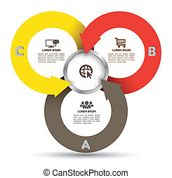 Circle Arrow template with icons - Vector business concepts...