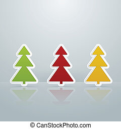 Colored Fir-Trees Object. Set of Four