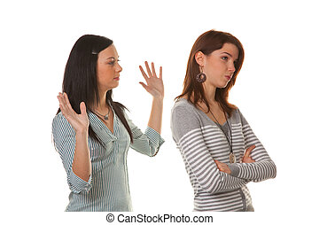 Women are angry and offended when arguing - Two young women...