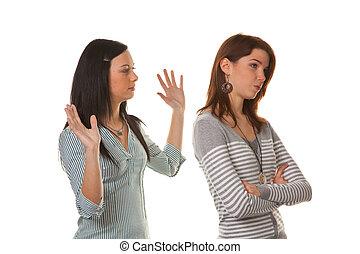 mujeres, enojado, ofendido, cuándo, discusión