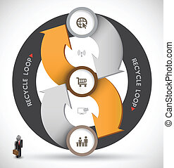 Rotate arrow - Vector business concepts with icons / can use...