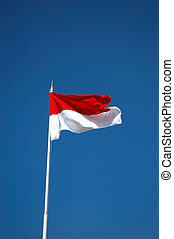 Indonesian Flag - Flag of the Republic Indonesia with blue...