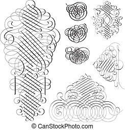 Vector Clipart Fancy Swirl Ornament Set - Easy to edit!...