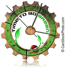 Time to Go Green - Wooden Gear - Wooden clock gear-shaped...