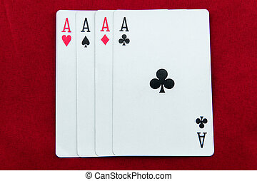 ACE-poker cards on red background