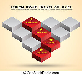 3d step block - Vector business concepts with icons / can...