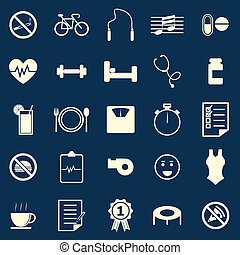Wellness color icons on blue background