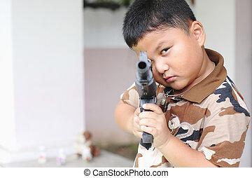 el, niños, juego, artillero