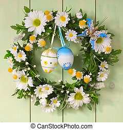 easter wreath - colorful flower wreath with the easter eggs
