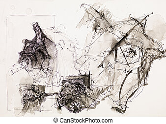 psychedelic ink drawing - abstract psychedelic ink drawing...