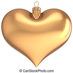 Christmas ball heart shaped golden - Christmas ball gold...