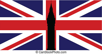 Union Flag Big Ben - The London landmark Big Ben Clocktower...