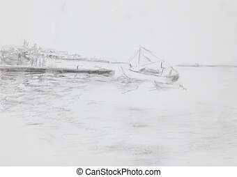 sailboat on sea near a dock. drawing