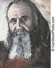 portrait of priest, oil painting - oil painting illustrating...