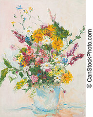 beautiful flower bouquet, oil painting - oil painting...