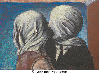 lovers kiss, pastel drawing reproduction - pastel...