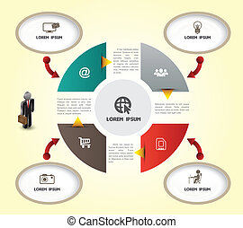 Circle pie template with icons - Vector business concepts...