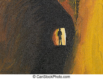 mystery man in tunnel - oil painting of mysteryous man in a...