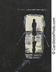silhouette of a girl on a corridor - oil painting...