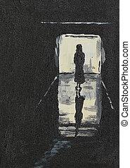menina, silueta, corredor