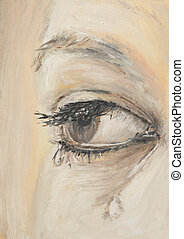 close-up of woman crying - oil painting illustrating a...