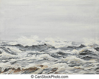 grey sea waves, oil painting - oil painting illustrating...