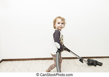 child doing household chore - cute child doing household...