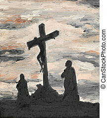 Jesus crucified on Golgotha - oil painting illustrating...