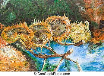 Four cut sunflowers, vincent van gogh - oil painting...