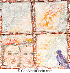 outside view of two children looking out a window - oil...