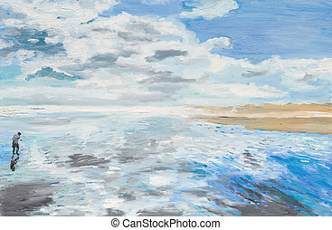 peaceful man on beach - oil painting illustrating a man on...