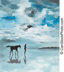 peaceful scene, man and horse running on water - oil...
