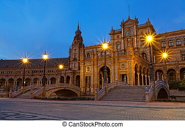 Plaza de Espana at night, Seville, Spain