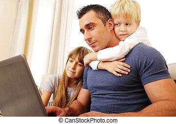 trabalhando,  laptop, pai, computador, lar, crianças