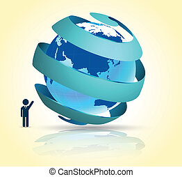 World with ribbon 3d - Vector business concepts with icons /...