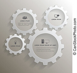 Gear 3d group with icons - Vector business concepts with...