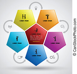 Hexagon with icons - Vector business concepts with icons /...