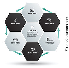 Hexagons group with icons - Vector business concepts with...