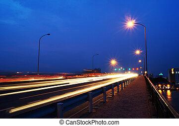 Bangkok city at nigh - Bangkok city and river in Thailand at...