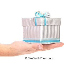 Hands holding gift in package.