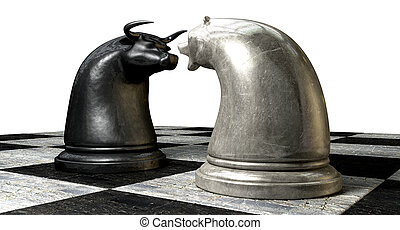 Bull And Bear Market Trend Chess Pieces - Two contrasting...
