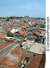 slum area - portrait of slum area below pasupati bridge in...
