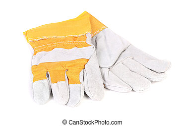 Heavy-duty leather gloves Isolated on a white backgropund