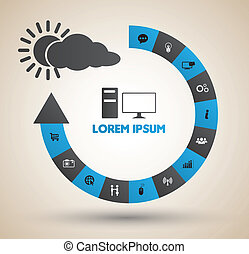 Arrow Circle step with icons - Vector business concepts with...