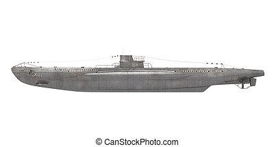 Submarine Isolated - Submarine isolated on white background....