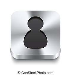Square metal button perspektive - user icon - Realistic 3d...