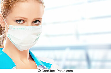 face of  woman doctor in mask