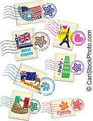 Stamps Set - World Travel Stamps Set